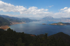Lugu Lake. Is a place which Mosuo people lived. Beautiful lake for enjoy natural view and enjoy life itself Royalty Free Stock Photography