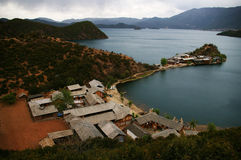 Lugu Lake lattice Peninsula. The Lugu Lake, Yuanwang grid in the peninsula and across the lake Stock Image