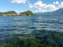 The Lugu lake of Lijiang, Yunnan, China Surrounded by mountains royalty free stock photo