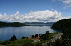 Lugu Lake,Lijiang,Yunnan ,China. Lugu Lake is known as the Pearl of the plateau and Mosuo people living mainly Stock Image