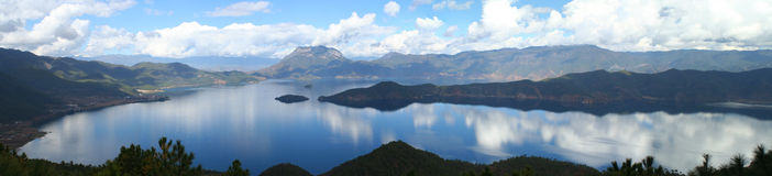 Lugu Lake Panorama Royalty Free Stock Photos