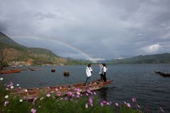 Lugu lake scenery Royalty Free Stock Photos