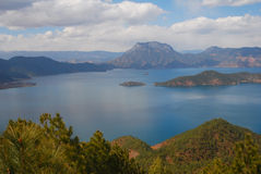Lugu Lake in southwest China. 's Yunnan Province,it is one of the most beautiful lakes in China Stock Photography