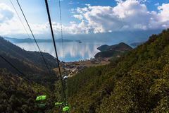 Lugu Lake view from cable car Royalty Free Stock Image