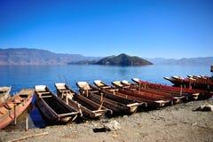 Lugu Lake in Yunnan Stock Photos