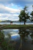 Lugu sjö i yunnan Kina Arkivfoto
