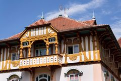 National cultural monument Jurkovicuv house from 1902 in spa Luhacovice, Czech republic. LUHACOVICE, CZECH REPUBLIC - APRIL 30 2018: National cultural monument stock images