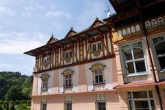 National cultural monument Jurkovicuv house from 1902 in spa Luhacovice, Czech republic. LUHACOVICE, CZECH REPUBLIC - APRIL 30 2018: National cultural monument stock image