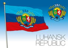 Luhansk Republic flag and coat of arms, Russia. Vector file, illustration Stock Photos