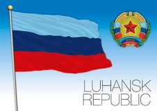 Luhansk Republic flag and coat of arms, Russia. Vector file, illustration Stock Photo