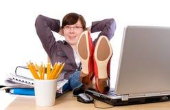 Lui of bored, student, geïsoleerde beambte, Stock Fotografie