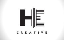 LUI progettazione di Logo Letter With Black Lines Linea vettore Illus della lettera Illustrazione di Stock