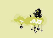 Luidsprekers in groene wolk. Vector art. vector illustratie