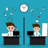 Luie bedrijfsmens en actieve bedrijfsmens in zelfde bureau Royalty-vrije Stock Afbeeldingen