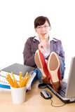 Luie, bored vrouwelijke geïsoleerdee beambte, Royalty-vrije Stock Afbeelding