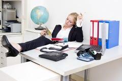 Luie receptionnist Stock Foto's