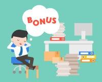Luie Zakenmandag die over bonus, bedrijfsconcept dromen royalty-vrije illustratie
