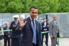 Luigi Di Maio candidate of the 5-star movement to Prime Minister in the general election day royalty free stock photo
