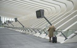 Luik-Guillemins现代火车站Liège-Guillemins 免版税库存图片