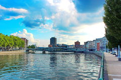 Luik - riviermening Royalty-vrije Stock Fotografie
