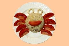 Luim gebraden rijst in krabvorm Stock Afbeeldingen