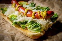 Luim Geroosterde Hotdog stock foto's