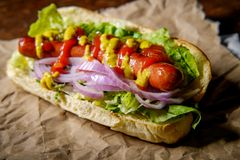Luim Geroosterde Hotdog stock foto