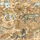 Luipaard, het dierlijke naadloze patroon van de jaguarkat met tropische gouden bladeren stock fotografie