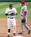 Luis Cruz of the Pittsburgh Pirates. Goes back to first base against the Cincinnati Reds Stock Image