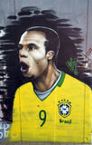 Luis Fabiano Graffiti. Graffiti on a wall in Johannesburg, South Africa, depicting Brazil's Soccer Star Luis Fabiano in the 2010 World Cup Stock Image
