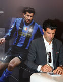 Luis Figo. Giving autographs at UEFA Champions League Trophy Tour held ,under sponsorship of UniCredit Bank, in oktober 2011,in Belgrade, Serbia, below Royalty Free Stock Photos