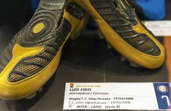 Luis Figo boots in San Siro museum. At the exposition of San Siro museum. Milan, Italy stock photo