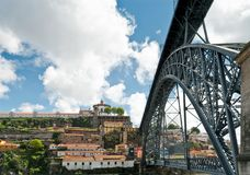 The Luis I Bridge. (Ponte Luis I) is a metal arch bridge that spans the Douro River between the cities of Porto and Vila Nova de Gaia in Portugal Royalty Free Stock Photo