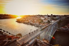 Luis I Bridge In Porto. An aerial view of the Luis I bridge with the sunset in the background, in Porto Portugal stock photos