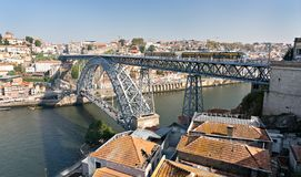 Luis I Bridge Porto Portugal. Panoramic view stock image