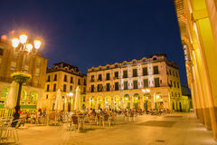 Luis Lopez Allue Square Huesca evening illumination Stock Image