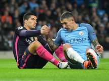 Luis Suarez and Aleksandar Kolarov royalty free stock images