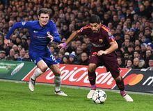Luis Suarez and Andreas Christensen Royalty Free Stock Images