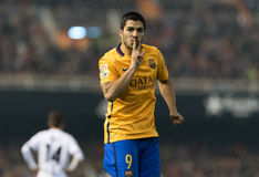Luis Suarez. Celebrates his goal during the mach between Valencia Royalty Free Stock Photography