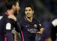 Luis Suarez of FC Barcelona. Celebrating goal during a Spanish League match against RCD Espanyol at the RCDE Stadium on April 29 2017, in Barcelona Spain Stock Image