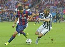Luis Suarez and Leonardo Bonucci Royalty Free Stock Photos
