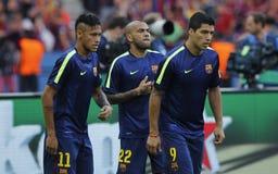 Luis Suarez, Neymar jr en Dany Alves FC Barcelone Royalty-vrije Stock Afbeelding