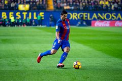Luis Suarez-spelen bij de gelijke van La Liga tussen Villarreal CF en FC Barcelona Stock Foto's