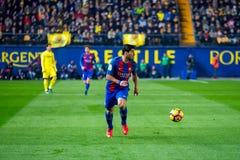 Luis Suarez-spelen bij de gelijke van La Liga tussen Villarreal CF en FC Barcelona bij de Madrigaalstadion van Gr Royalty-vrije Stock Afbeelding