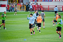 Uruguay national team warming up Stock Images