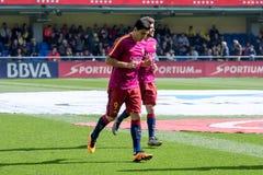 Luis Suarez värmer upp före den LaLiga matchen mellan Villarreal CF och FCet Barcelona Royaltyfria Foton