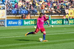 Luis Suarez warms up prior to the La Liga match between Villarreal CF and FC Barcelona Royalty Free Stock Photography