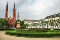 Luisenplatz square with St. Bonifatius church and residential bu Stock Photography