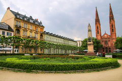 Luisenplatz square with St. Bonifatius church and residential bu. Ildings in Wiesbaden, Hesse, Germany. Wiesbaden is one of the oldest spa towns in Europe stock photos