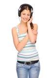 Luister aan de muziek Stock Afbeelding